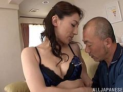 She is a Japanese milf and today she is getting fucked hard. She lays on that couch and spreads her legs wide to be balled deep and hard.