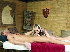 This sexy chick has blonde streaks and an urge to suck cocks. She rubs her hand all over her client's body, and then she puts her lips on his cock and shows off her amazing blowjob skills. She fits it all in her mouth and deepthroats.