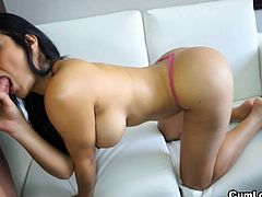 Galilea is a hot Colombian girl with amazing ass. She shows off her big assets and gives strokes cock with her sexy feet then takes it into her mouth and wet cameltoe pussy!
