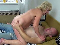 Make sure you don't miss this sexy granny using her favorite dildo to penetrate her old fat cunt. She screams loud and received some hardcore banging from younger dude.