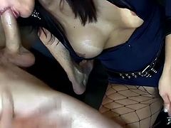 This police officer is one pretty cool whore! Big breasted shemale in fishnet stockings knows how to teach her slave some good manners. She spanks his ass hard until it turns scarlet red. Then she fucks his tight butthole from behind.