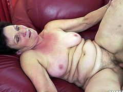 This hairy, horny mature woman needs that cock. She gets laid out flat on her back as this guy thrusts away on that wet pussy.