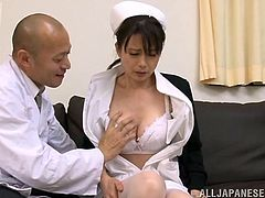 A hottie in nurse outfit gets fuckin' fucked by a horny dude dressed as a doctor, so if you've got that fantasy going on, check this shit out!