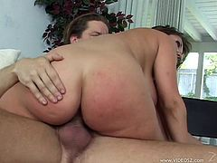 She is a wicked hungry milf that is on hunt for a thick cock to suck and get it in her pussy! Here is she shacking her tits on that dude.