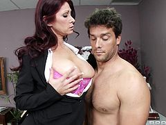 Take a look at this hardcore scene where the busty Tiffany Mynx is fucked by this guy in her office as she ends up covered by cum.