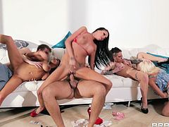 Christy Mack, Raven Bay, Rikki Six, Romi Rain, Danny D and Keiran Lee are having a great time together. They girls please the men with blowjobs and welcome their boners in their delicious pussies.