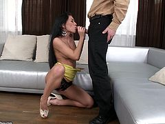 Take a look at this hardcore scene where the smoking hot brunette Mya Diamond is nailed by this guy as you hear this busty brunette moan.