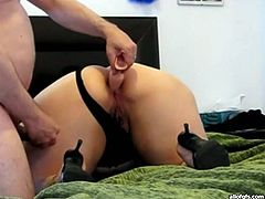 Slutty dark haired chick with fat ass prepares her twat with dildo and gets drilled doggystyle. Have a look at this babe in All Of Gfs sex video.