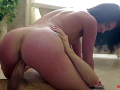 Go wild by watching this brunette babe, with small tits and a nice ass, while she gets fucked hard by a kinky guy even though they shouldn't.