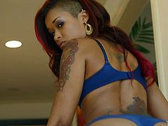 Lean ebony beauty Skin Diamond fills her mouth with white meat