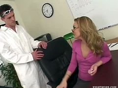 Checkout this horny blonde milf, fucking with the janitor in the office, on her table. This blonde milf has juts broken up with her boyfriend, and is as horny as hell. This janitor grabs the opportunity and gives a fuck she will remember, till the day she works in this office. Enjoy!