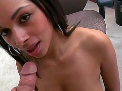 Cute amateur sexy Bethany Benz with natural hanging knockers and pierced belly button gets naked at the interview and gives lusty blowjob to dirty dude in pint of view.