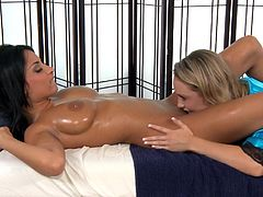 Soft massage is what leads horny babes to masturbate one another's cramped vag in such a harsh manner
