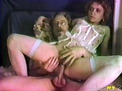 Have a look at this vintage video where this cock thirsty slut is fucked silly by this guy as she wears lingerie as while moaning at the top of her lungs.