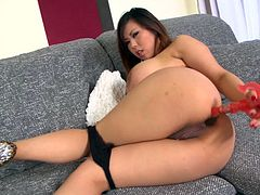 Jaw dropping busty bitch fucks her juicy anal hole with her favorite sex toy. She is insatiable brunette with massive boobs. Just enjoy watching solo masturbating busty brunette for free.