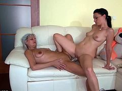 Old Nanny brings you a hell of a free porn video where you can see how a kinky brunette teen and a grandma go fully lesbo on the couch before dude bangs the young belle's pussy.
