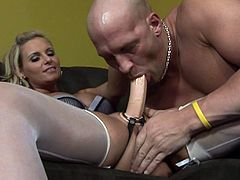 Have fun watching this blonde femdom, with a nice ass wearing nylon stockings, while she controls the situation and goes hardcore with a horny man.