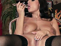 Sensual Jane touches her hooters in a tempting manner