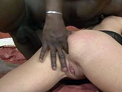 Dirty ass bitch fucks like crazy slut in hardcore interracial porn video. She gets poked in sideways position before riding BBC in reverse cowgirl position.