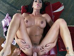 Kirsten Price is fucked by a large cock until her face's covered by semen