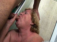Fat blonde granny Alice shows her cock-sucking skills to a guy. Then she takes his weiner in her old twat and enjoys it deep from behind.