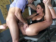 A brunette girl pulls down a t-shirt to show her hot boobs and gives a blowjob sitting on her knees. Then Sky gets cowgirl fucked.