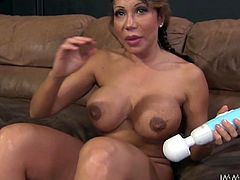 Freckled mom with huge fake tits and big ass Ava Devine exposes her curves while petting her meaty cunt with magic wand. Thick MILF shoves big dildo up her asshole and reaches orgasm.