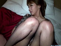 This cute Asian girl gets picked up at a party, has her short dress lifted up, her pantyhose pulled down and her pussy fucked.