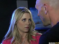 Scarlet Red's dad leaves her alone in the car while looking for a dangerous criminal. The criminal, Johnny Sins finds her first and nails her pussy really hard.