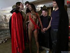 Are you crazy of gangbangs and ebony beauties lover? You can get two in one piece! Dare to click to testimony an amazing suit of gangbang scenes. A brunette sexy bomb is having fun while sucking five big cocks and obeying all their orders. Relax and watch the slutty bitch riding a dick.