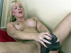 Voluptuous with superb tits and cramped cunt, golden milf goes wild with a monster toy cock