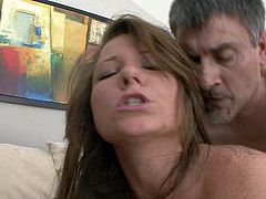 Tempting brunette MILF Casey Cumz is nailed doggy style