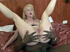 Lustful mom with big natural boobs takes BBC in her butt hole. She gets her ass drilled deep and rough while riding dick in reverse cowgirl position.