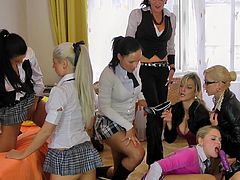 There's nothing more pelasant than having horny lesbians masturbating one another's wet fannies in group