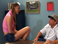 College cutie in pigtails Aurora Snow is so hot. This is one of her first video as a pornstar. In this video she is a teacher's little pet asked by a teacher to suck two guys huge dicks.