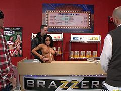Dark haired seductive MILF with sexy tits invited her ever hungry fellow to porn studio to blow his giant cock in front camera. Have a look at that insatiable bitch in Brazzers Network porn video!