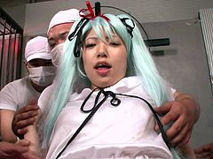 This sexy, Japanese slut gets groped and rubbed by a group of horny male doctors. The cosplay girl spreads her legs and has her pussy played with. She sits on the face of one of the men and then has her pussy eaten and fingered.