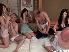 There is no reason or way to be shy in this room as these younger babes please these older guys during a wet, wild orgy.