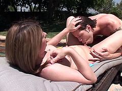 Voracious and sexy light haired transsexual with big boobs gets her tight butthole drilled hard at the pool. Have a look at this ladyboy in Fame Digital sex video.
