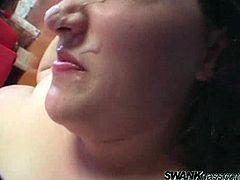Get a load of this hot POV scene where this sexy BBW brunette shows off her massive ass and huge tits before sucking and fucking this guy's cock.