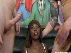 Ghetto Gaggers brings you a hell of a free porn video where you can see how the nasty ebony bitch Stacy Adams enjoys two white cocks til she cums very hard.