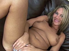 She desperately needs to swallow the guy's load after having her cramped pussy destroyed in amazing couch hardcore
