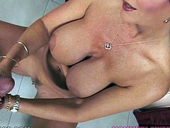 Janet Mason is a stunningly hot brunette mommy with monster curves. Babe exposes her big shiny boobs while furiously finger fucking her tight moist cunt.