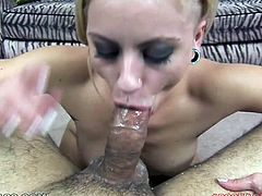 This pretty blonde has the mouth every guy want to fuck! This cock crazed blonde with charming eyes is an experieced cock sucker. She sucks her lover's dick with unbridled passion as if her life depends on it.