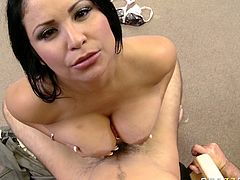 Horny and sexy babe with nice body Sophia Lomeli gets a titfuck