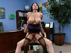 Amazing and sexy dark haired babe with nice ass gets her dripping pussy fucked missionary. Have a look at this bitch in Brazzers Network sex video.
