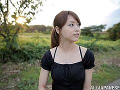 Get a load of this outdoors POV where the beautiful Japanese babe Sayuki Kanno sucks on this guy's hard cock until it cums in her mouth.