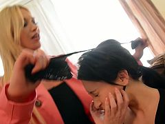 You are going to watch exciting bdsm lesbian sex video featuring two adorable babes Lindsey Olsen and Sandra Luberc. blonde babe spanks tied up brunette and finger fucks her anal hole.