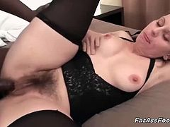 While waiting she fondle her unshaved pussy making it wet for the purpose of preparing for a big black cock to enter. Her black fuck buddy arrived and gave him a hot wet blowjob