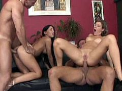 Make sure you check out this hardcore scene where these sexy ladies are fucked silly by two guys in a foursome that'll make you bust a nut.
